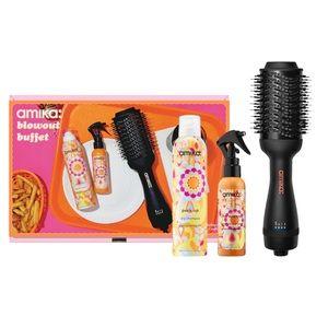 New Amika Holiday Blowout Buffet Blow Dryer Brush, Hair Primer & Dry Shampoo Set